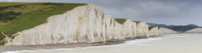 Panoramic of the Seven Sisters Cliffs in the south downs sussex UK
